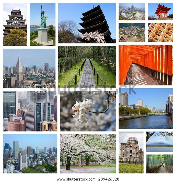 Japan Travel Photo Collage Includes Major Stock Photo (Edit