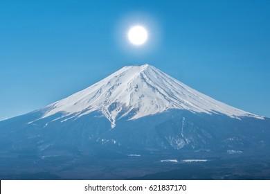 Japan travel,mt diamond fuji and snow at Kawaguchiko lake in japan,mt Fuji is one of famous place in Japan,Japanese called Fujisan,Fuji-san,Fujiyama