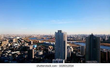 Japan View from Saitama toward Tokyo's Sky Tree
