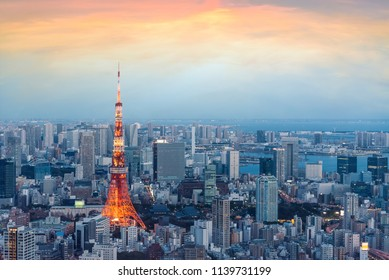 Japan view with tokyo tower during sunset