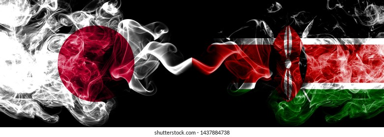 Japan vs Kenya, Kenyan smoky mystic flags placed side by side. Thick colored silky smokes combination of Kenya, Kenyan and Japanese flag