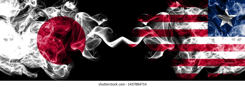 Japan vs Liberia, Liberian smoky mystic flags placed side by side. Thick colored silky smokes combination of Liberia, Liberian and Japanese flag