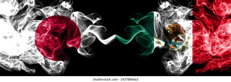 Japan vs Mexico, Mexican smoky mystic flags placed side by side. Thick colored silky smokes combination of Mexico, Mexican and Japanese flag