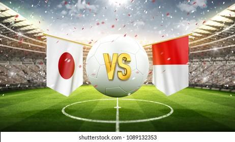 Japan vs Poland. Soccer concept. White soccer ball with the flag in the stadium, 2018. 3d render