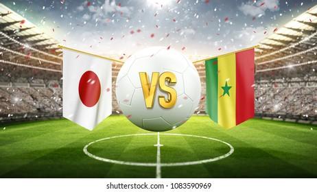 Japan vs Senegal. Soccer concept. White soccer ball with the flag in the stadium, 2018. 3d render