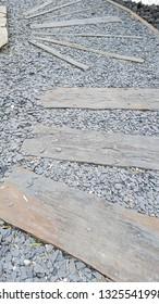 Japan zen path stone steps in garden