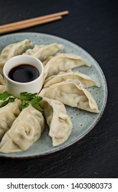 Japanaese gyoza dumpling with soya sauce