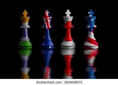 japan,australia,usa and india Quad plus countries flags. chess king.