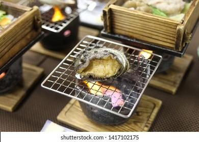 Japanese Abalone (Awabi) on BBQ Grill