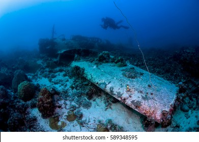 Japanese airplane bomber in the deep of Pacific ocean
