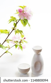 Japanese alcoholic beverage Sake bottle and Sake cup under pink double cherry blossoms