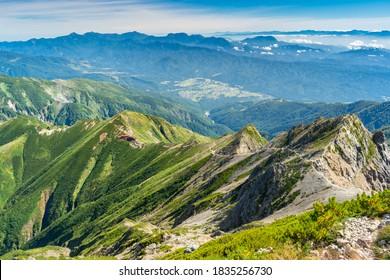Japanese Alps above the Hakuba Valey, Mount Goryu, Japan
