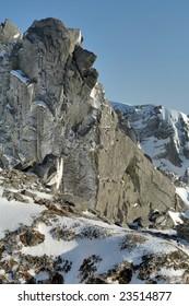 Japanese Alps ridgeline of the snow territory