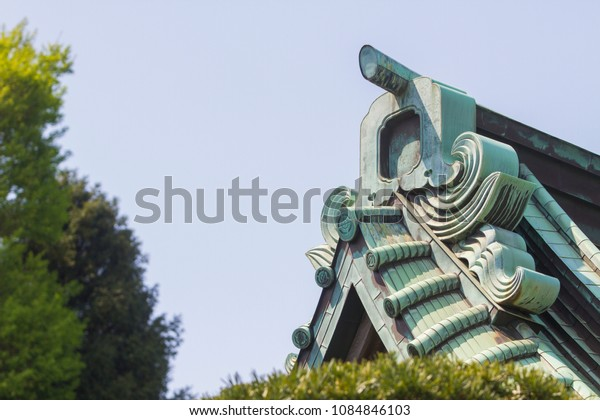 Japanese ancient shrine rooftop style.