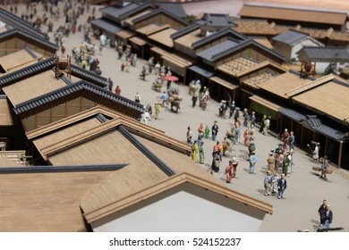 Japanese architect and life style in Edo period. Edo museum. Model. Simulate.