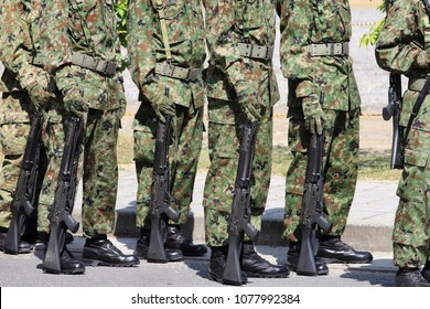 Japanese armed soldiers with rifle, Japan Self Defense Forces