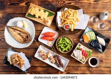 japanese assorted popular izakaya appetizers
