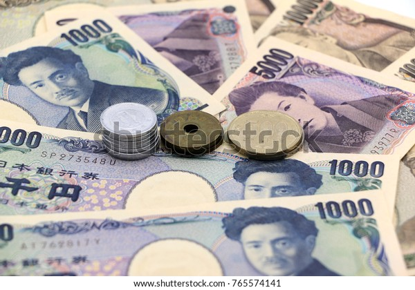 japanese banknotes and japanese coins, yen.