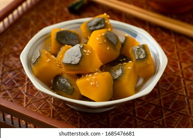 Japanese bowl with sweet cooked Kabocha winter squash