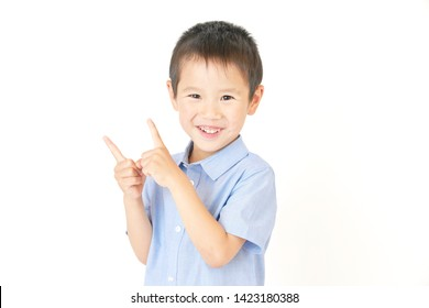 Japanese boy in the white background
