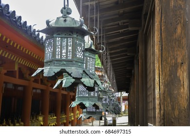 Japanese brass temple lantern