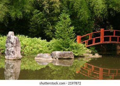 Japanese bridge in garden 3