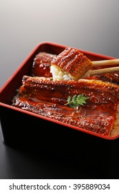 Japanese broiled eel served over rice a lacquered box