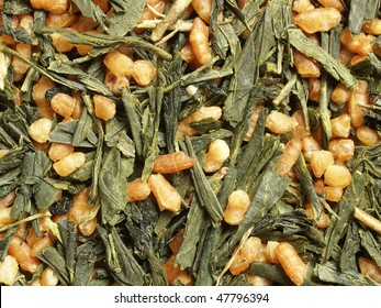 Japanese brown rice tea (green tea with roasted rice) - close up view, can be used as a background
