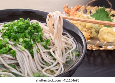 Japanese buckwheat noodles served with Tempura/Tempura Soba, buckwheat noodles