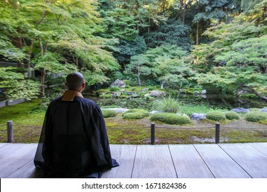 Japanese Buddhist Monk back view