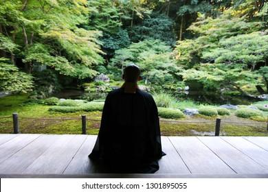 Japanese Buddhist Monk and fresh green