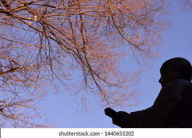 Japanese Buddhist priest, Nichiren statue silhouette at Renjoji Temple, in winter, Kichijoji, Tokyo, Japan