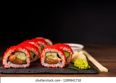 Japanese California sushi food with tuna and flying fish roe.