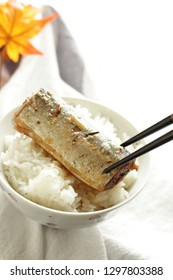 Japanese canned saury pacific on rice