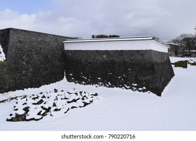 Japanese Castle Covered in heavy snow, winters