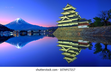 Japanese Castle and Mount Fuji