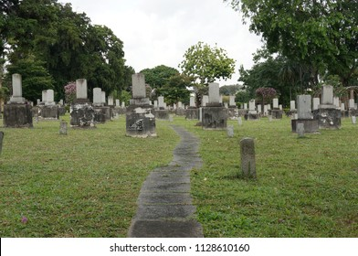 The Japanese Cemetery Park in Singapore. The cemetery and park located at Hougang, largest Japanese cemetery in Southeast Asia, consisting of 910 tombstones that contain the remains of members of the