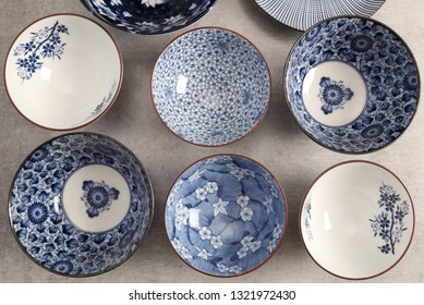 Japanese ceramic bowls  close-up. Ceramic ware made by hands.