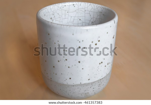 Japanese Ceramic  tea cup on wooden background