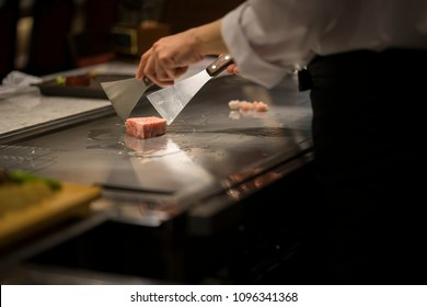 japanese chef cooking teppanyaki style