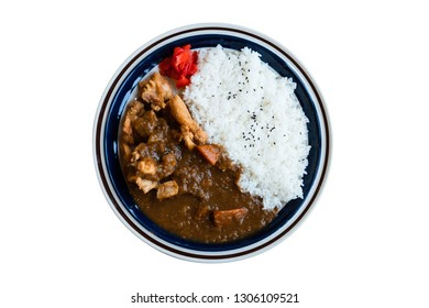 Japanese chicken curry with rice isolated on white background in top view with clipping path. Japanese food. Katsu