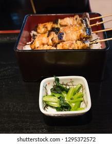 Japanese chicken grill Yakitori set with ingredient in dark tone