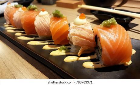 japanese chirashi don sliced fish cubes sashimi salmon