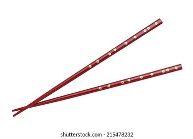 Japanese chopsticks, flower pattern, isolated on white background