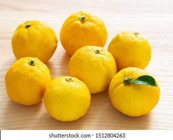 Japanese citrus fruits, Yuzu on table