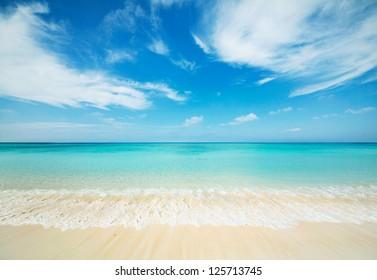 Japanese clean white beach in Okinawa prefecture