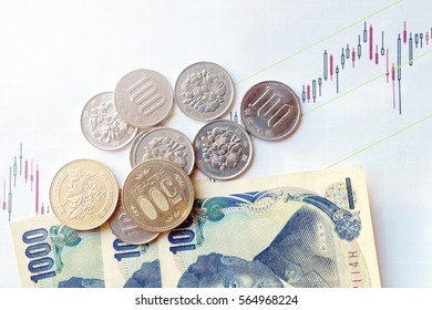 Japanese coin and banknotes on the stock chart. the concept of economic trend of Japan Economy