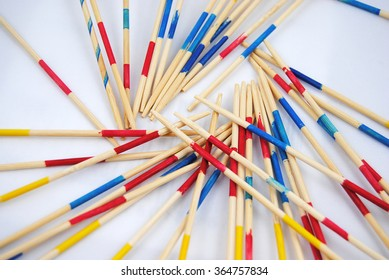 Japanese concentration game mikado on a white background