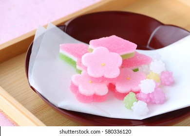 Japanese confectionery for Dolls' Festival on lacquered plate