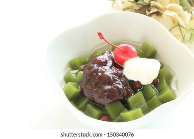Japanese confectionery, Green tea Kanten Jelly with azuki and cherry